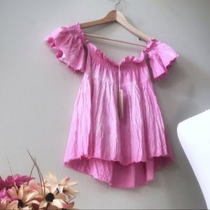 Pink off the shoulder Babydoll tunic top